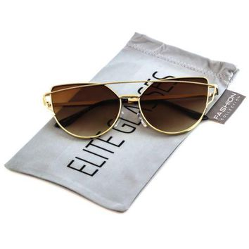 ELITE Large Cat Eye Sunglasses Flat Top Lens Metal Frame Women Fashion