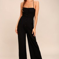 Beach Day Black Backless Jumpsuit