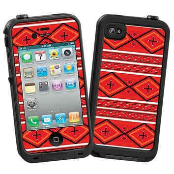 Red and White Tribal Skin for the iPhone 4/4S Lifeproof Case by skinzy.com