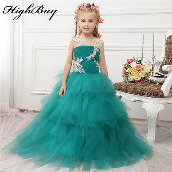 HighBuy 2017 Sparkling Green Ruffles Tulle Girls Pageant Dress One Long Sleeve Festival Flower Girls Dress Girl Birthday Dress