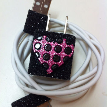 iPhone Charger (customized glitter charger with heart)