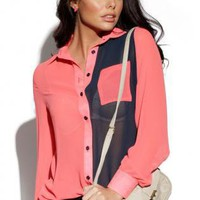 Sheer Long Sleeve Button Up Front Color Block Shirt