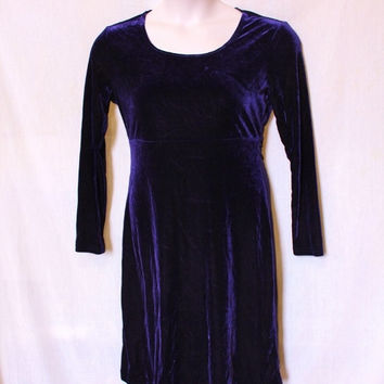 90s Velvet Dress Purple Vintage Grunge Dress Velour Plush Super Soft Stretchy XL