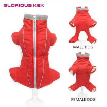 GLORIOUS KEK Winter Warm Pet Dog Clothes Waterproof Dog Coat for Small Dog Reflective Dog Jumsuit Soft Fleece Full-Covered Belly