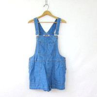 20% OFF SALE Vintage blue Jean Bib Overalls Shorts // shorteralls jumper // size Medium