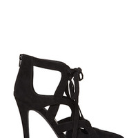 FOREVER 21 Faux Suede Lace-Up Heels Black