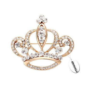 NOUMANDA Women Shiny Rhinestone Crown Brooch Pin