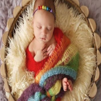 Knit Stretch rainbow Newborn Baby Wrap Photo Prop (Multiple Colors) - CPW502