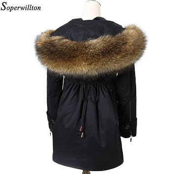 Soperwillton 2017 Winter Jackets Women Fur Coat Luxury Real Raccoon Fur Hooded Collar Ladies Detachable Lining Long Parka Ba08