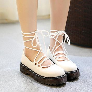 Casual Retro Pu Lace Up Platform British Style Shoes