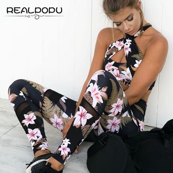 Realpopu Printed Flower Tracksuit Fitness Workout Tight Crop Tank Top and Push Up Legging Long Pants Suit 2 Two Piece Women Set