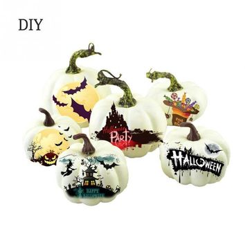6Pcs Mini Craft White Simulation Foam Pumpkin Fashion Halloween Festival Supplies Decoration DIY For Kids