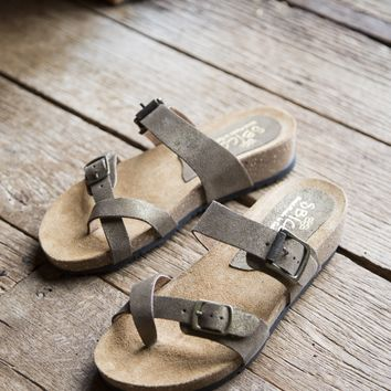Perception Buckle Sandal, Gold/Taupe | Sbicca