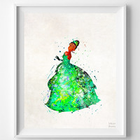 Tiana Print, Tiana Watercolor Art, Type 2, Disney Poster, Wedding Gift, Office Decor, Nursery Posters, Dorm Decor, Halloween Decor
