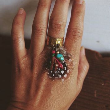 BR-01, Free U.S. Shipping, Adjustable brass ring with leather tassel,feather and turquoise