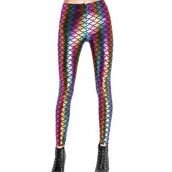 Rainbow Shiny Mermaid Leggings