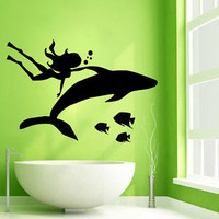 Wall Decals Girl Diver Mermaid Dolphin Fish Vinyl Sticker Bathroom Decor KG671