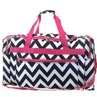 "Chevron Print Large 22"" Duffle Travel Luggage Bag Dance Cheer (pink/black)"