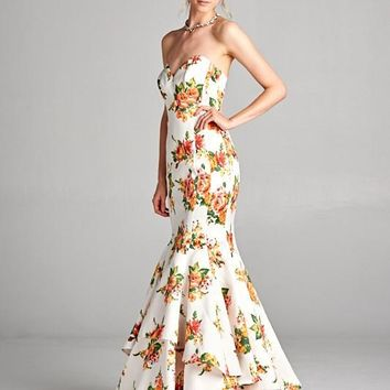 SWEETHEART STRAPLESS FLORAL MERMAID PROM FORMAL DRESS