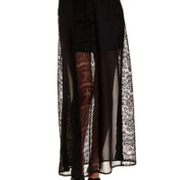 Black Lace & Chiffon Maxi Skirt by Charlotte Russe
