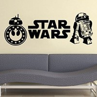 Logo Star Wars Wall Decal BB-8 Android R2D2 Vinyl Sticker Decals Nursery Baby Room Home Decor Bedroom Art Design Interior NS1004