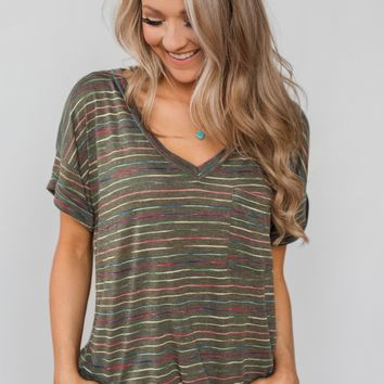 Get The Party Started Striped Pocket Tee - Dark Olive