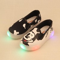 Chidren Mickey Kitty Shoes With LED Light Kids Sneaker