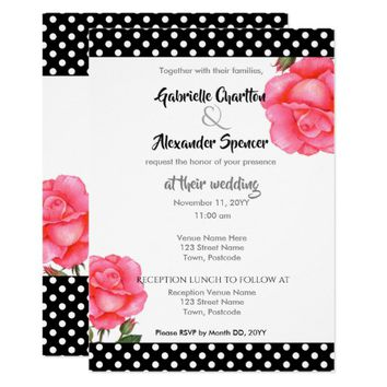 Watercolor Pink Rose Floral Art Wedding Invitation