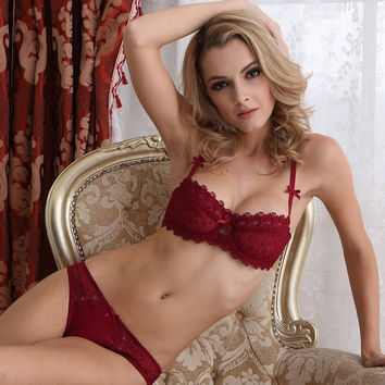Hot Deal On Sale Cute Sexy Lace Transparent Bra Set Exotic Lingerie [6596640387]