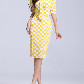 Yellow Printing chiffon dress womens dress long sleeve dress fashion dress long dress ---WD145
