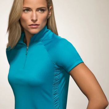 Lori's Golf Shoppe: Greg Norman Ladies & Plus Size ML75 Microlux Ruched Panel S/S Golf Shirts - ESSENTIALS (Assorted Col