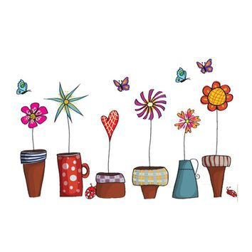 DIY Art Wallpaper Garden Flower Pot Plant Culture Decal Wall Stickers PVC Room House Sticker