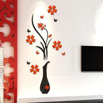Super Deal Small Size DIY Vase Flower Tree Crystal Arcylic 3D Wall Stickers Decal Home Decor