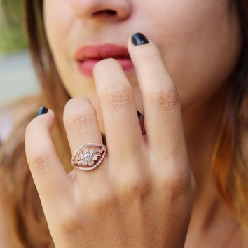 Natural Diamond Ring, Unique Engagement Ring, Lily Flower Diamond Ring, Gold Flower Ring 14K Rose Gold, 7.0 US Size