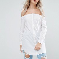 Noisy May Petite Longline Bardot Button Front Shirt at asos.com