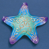 Small Starfish Glass Figurine w/ 22k Gold Trim