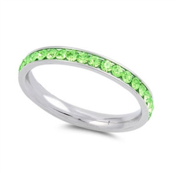 The Classic 2TCW Round Cut Green Peridot Russian Lab Diamond Wedding Band Eternity Ring