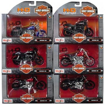 Harley Davidson Motorcycle 6pc Set Series 35 1:18 Diecast Models by Maisto