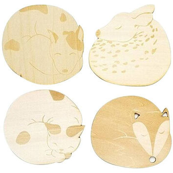 Cat Fox Dog Deer Carved Wooden Coaster Heat Insulated Pad