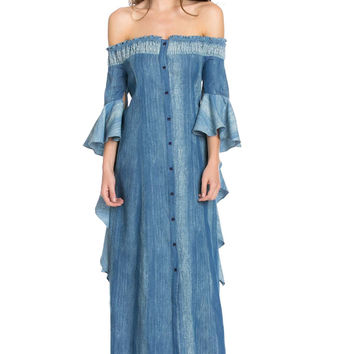 Off The Shoulder Denim Medieval Dress OP2135