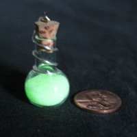 Glow in the dark Glass Vial Pendant by bak2oz on Etsy