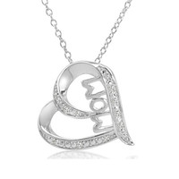 Mom in Heart Diamond Pendant Necklace in Sterling Silver on an 18 inch Chain