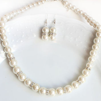 Big pearl necklace and earrings bridesmaid jewelry set wedding gift wedding party 12mm pearl ivory pearl mother gift wedding necklace