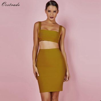Ocstrade 2 Piece Bandage Dress New Arrivals Summer Sexy Ginger Cut Out Women Two Piece Bandage Set Dress Club Wear Outfits