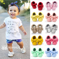 New PU Leather Cute Sweet Newborn Baby Kids Girl First Walkers Shoes Princess Baby Moccasins Soft Moccs Big Bow Shoes Footwear