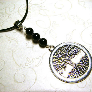 Tree of Life Necklace, Black Onyx Jewelry, Viking Celtic Pagan Spiritual Metaphysical, Unisex, Gift for Him, Gift for Her, Gift for Men