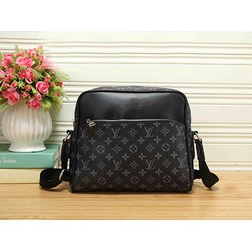 LV Classic Stylish Women Monogram Leather Zipper Shoulder Bag Crossbody Satchel Black LV Print  I-RF-PJ
