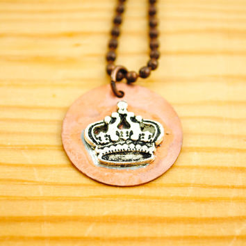 Princess Crown Necklace - Queen - Shabby Chic, Rustic Country, Soldered Necklace, Hand Stamped Necklace