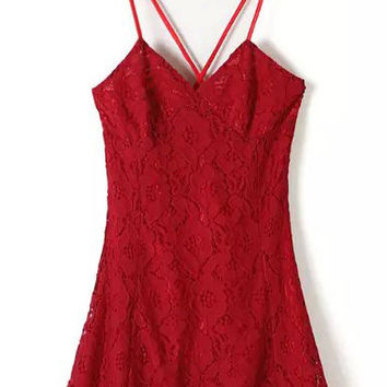 Spaghetti Strap Backless Red Lace Dress