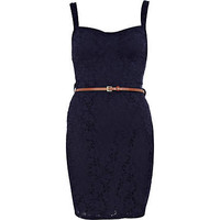 Navy lace bustier bodycon dress